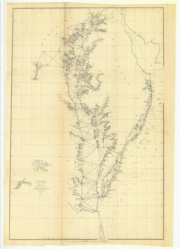 18 x 24 inch 1852 North Carolina old nautical map drawing chart of Sketch C Showing the Progress of the Survey in Section 3 From  U.S. Coast Survey x7163