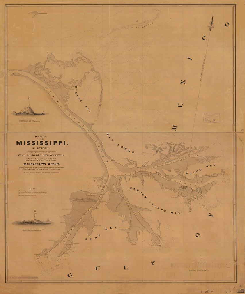 18 x 24 inch 1838 US old nautical map drawing chart of DELTA OF THE MISSISSIPPI From  Bureau of Topographical Engineers x3025