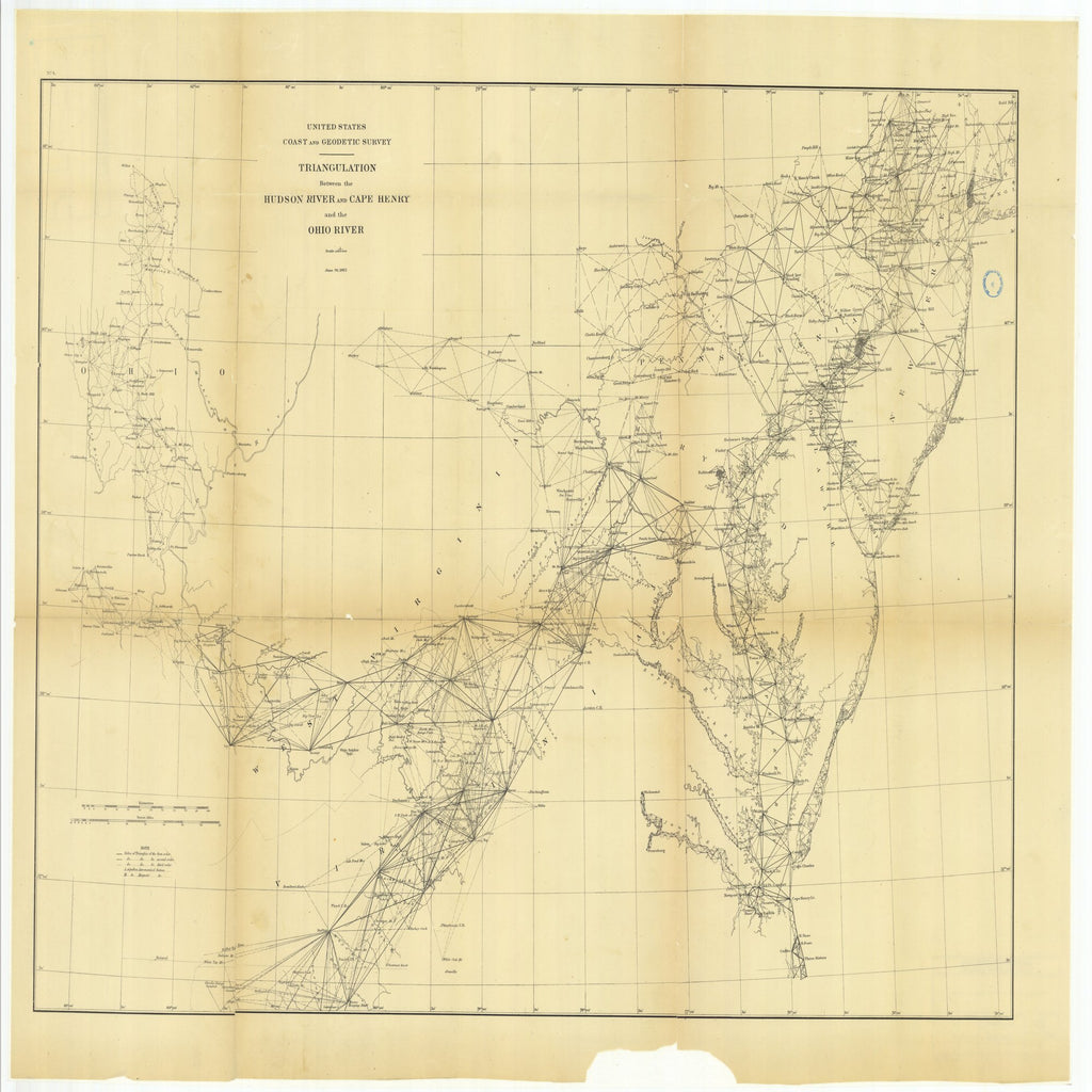 18 x 24 inch 1882 US old nautical map drawing chart of Triangulation Between the Hudson River and Cape Henry and the Ohio River From  US Coast & Geodetic Survey x1956