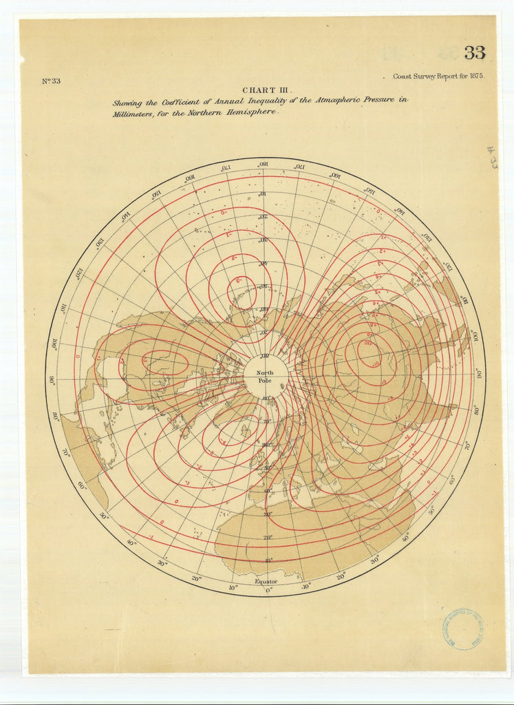 18 x 24 inch 1875 US old nautical map drawing chart of Chart 3 Showing the Coefficient of Annual Inequality of the Atmospheric Pressure in Millimeters for the Northern Hemisphere From  U.S. Coast Survey x2215