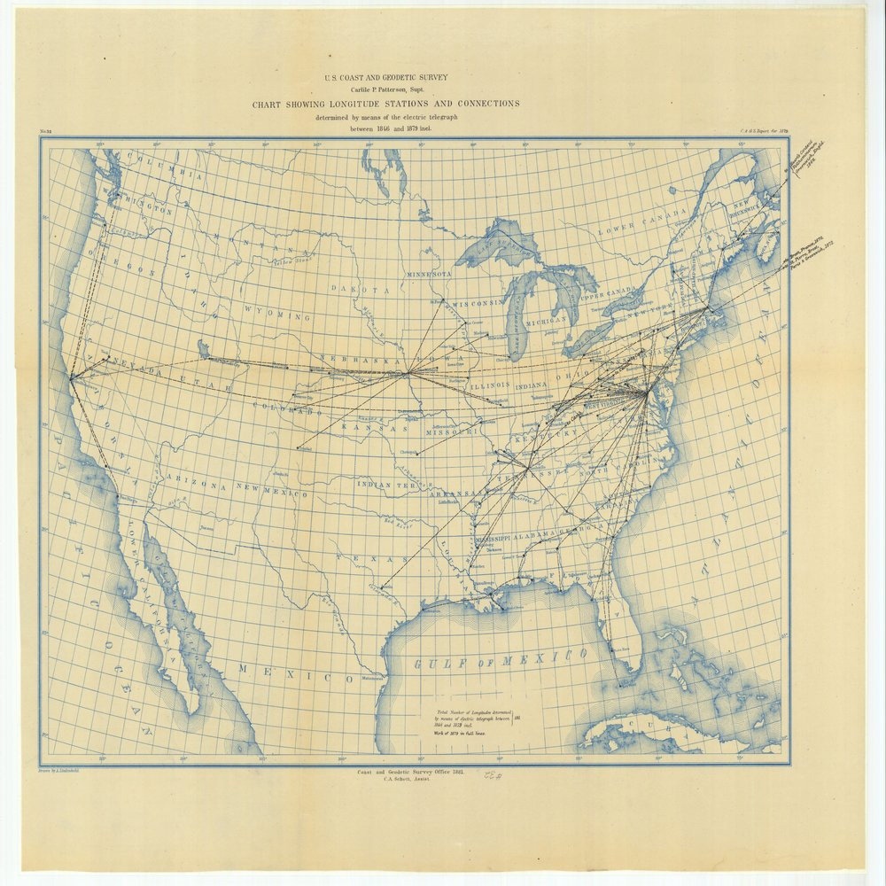 18 x 24 inch 1879 US old nautical map drawing chart of Chart Showing Longitude Stations and Connections Determined by Means of the Electric Telegraph Between 1846 and 1879 From  US Coast & Geodetic Survey x75