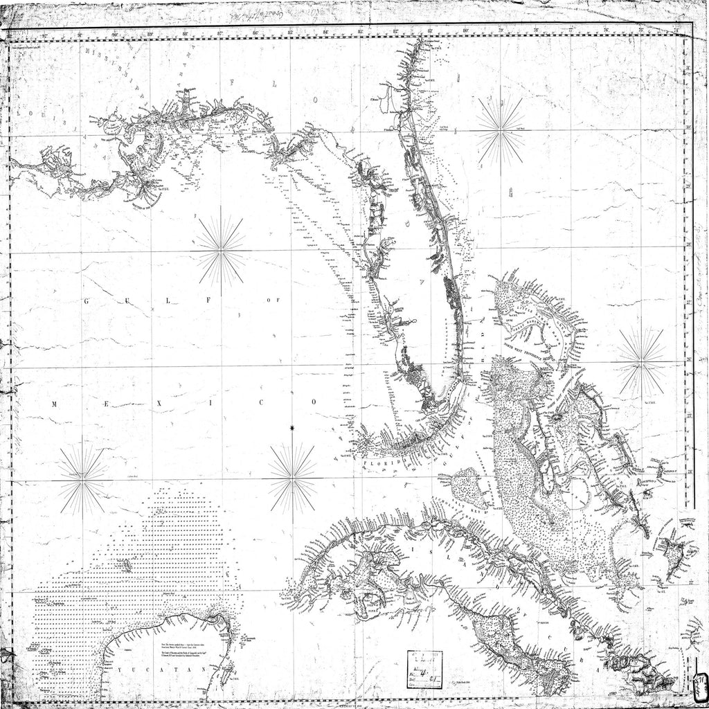 18 x 24 inch 1848 Mississippi old nautical map drawing chart of [Gulf of Mexico] From  Blunt x6475