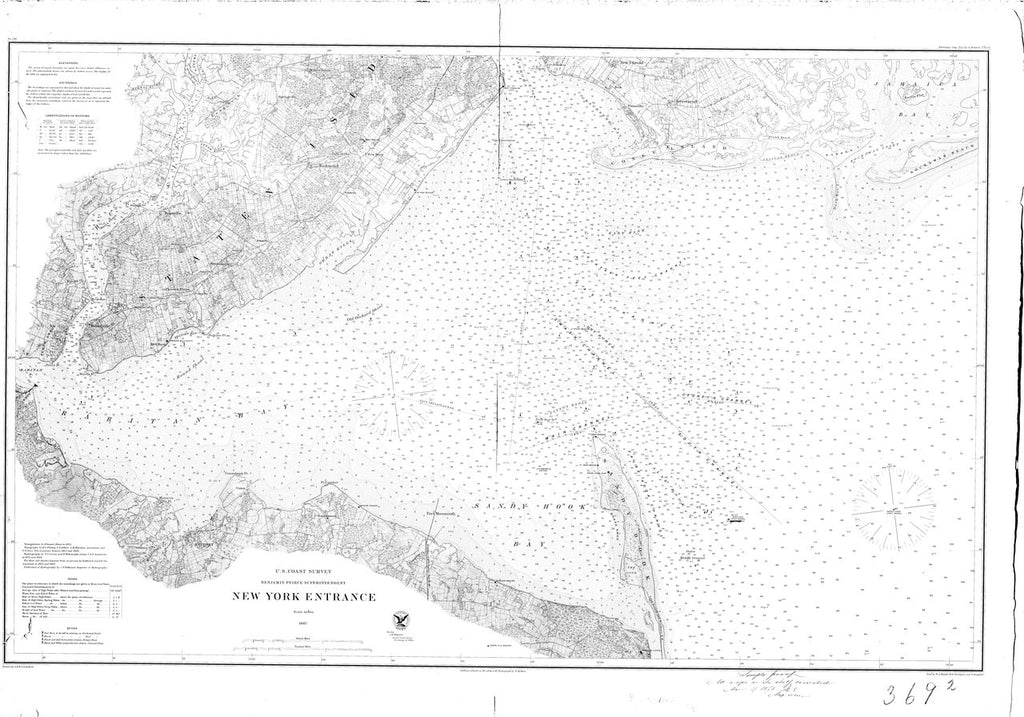 18 x 24 inch 1867 New York old nautical map drawing chart of New York Entrance From  US Coast & Geodetic Survey x6970