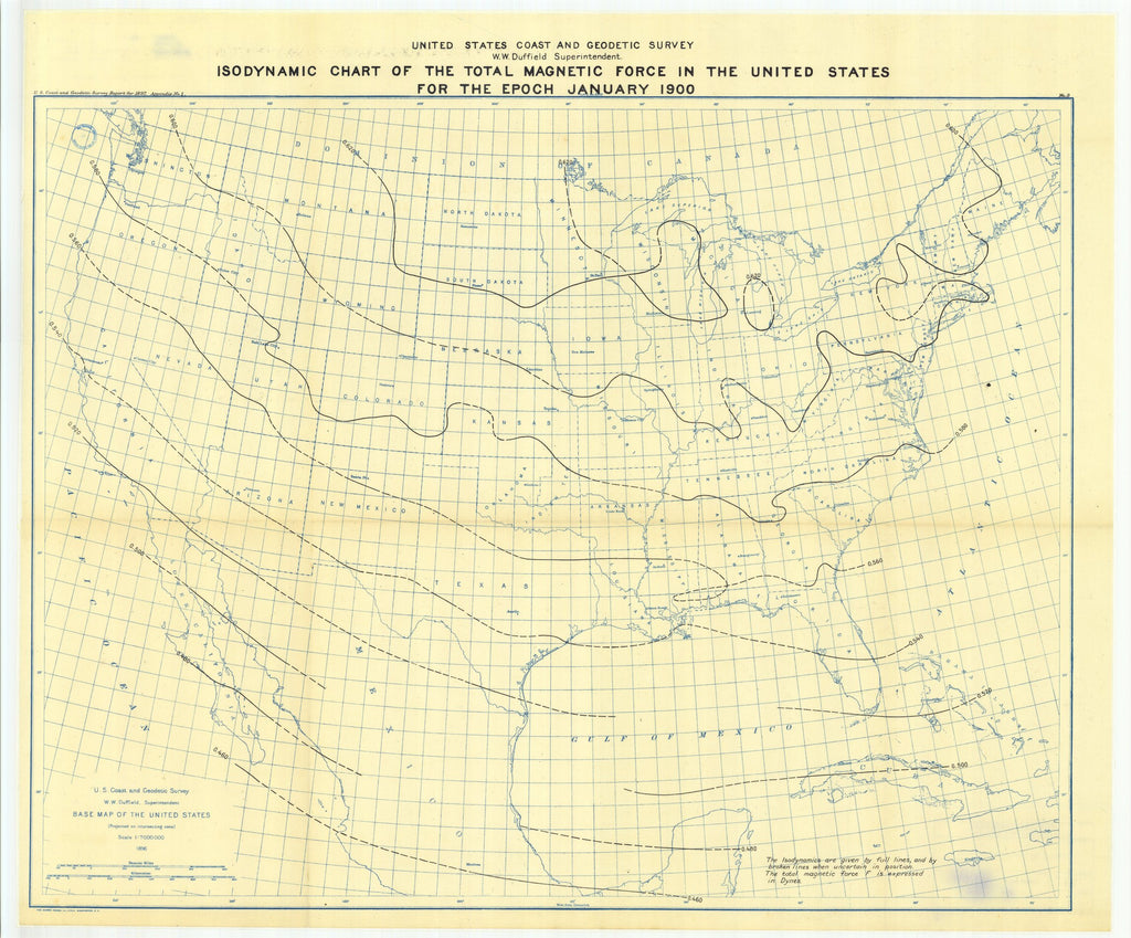 18 x 24 inch 1897 USA old nautical map drawing chart of Isodynamic chart of the total magnetic force in the United States for the epoch January, 1900 From  US Coast & Geodetic Survey x12100