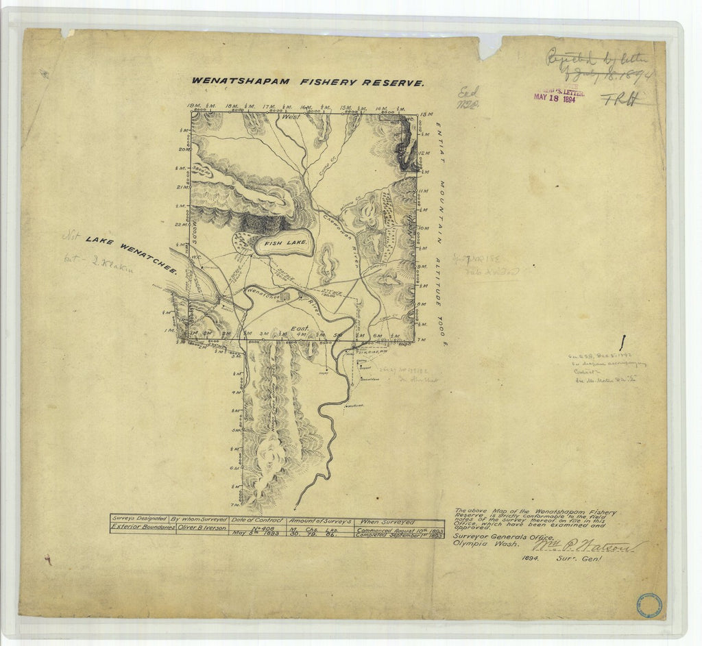 18 x 24 inch 1894 Washington old nautical map drawing chart of Wenatshapam Fishery Reserve From  US Coast & Geodetic Survey x11801