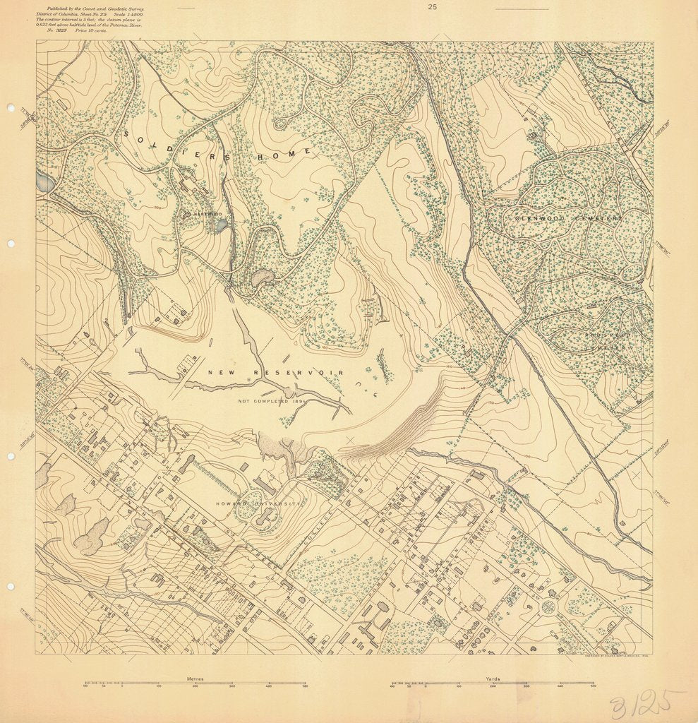 18 x 24 inch 1894 US old nautical map drawing chart of SURVEY OF POTOMAC REGION From  US Coast & Geodetic Survey x703