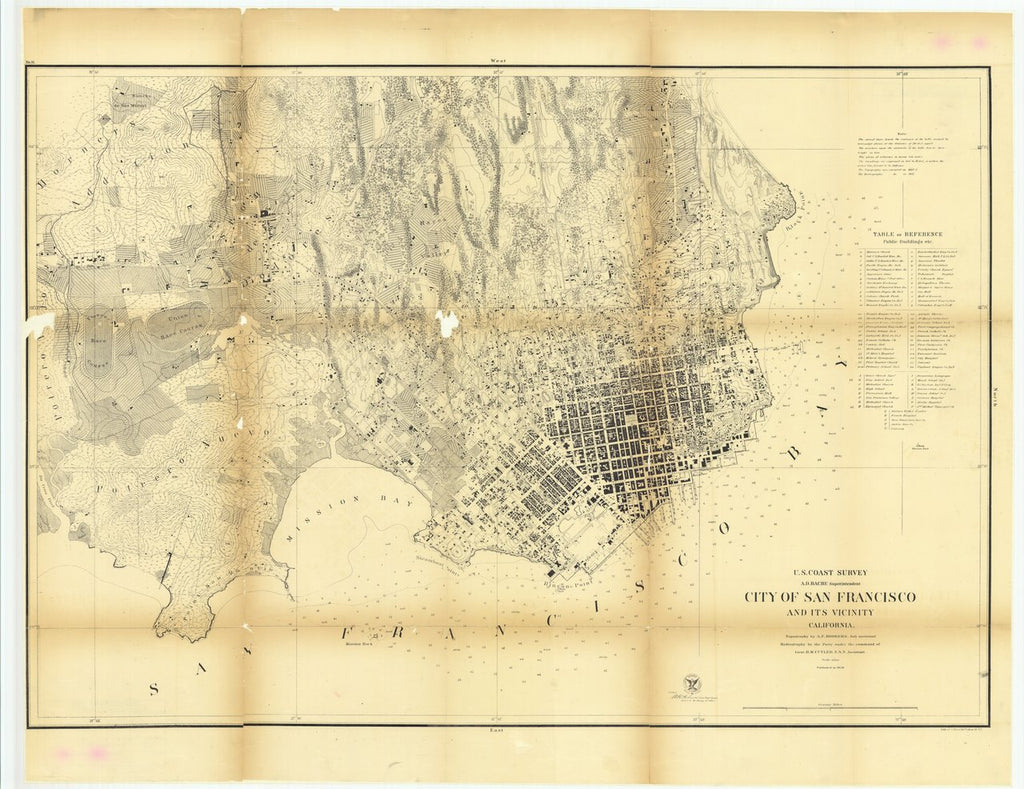 18 x 24 inch 1859 US old nautical map drawing chart of City of San Francisco and its Vicinity, California From  U.S. Coast Survey x743