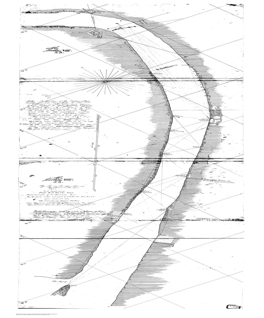 18 x 24 inch 1862 US old nautical map drawing chart of Reconnaissance of the Mississippi River - 1862 From  U.S. Coast Survey x1995