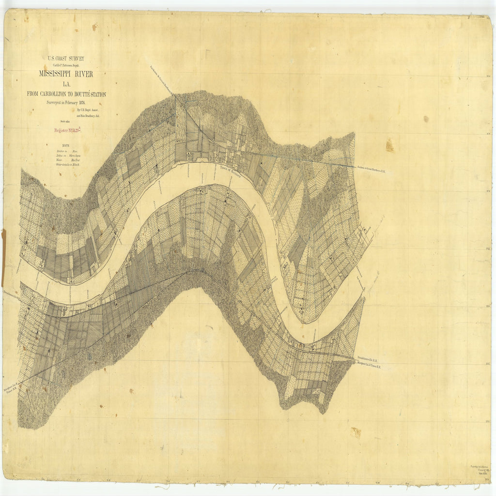 18 x 24 inch 1876 US old nautical map drawing chart of Carrollton to Boutte Station, Louisiana From  U.S. Coast Survey x2324