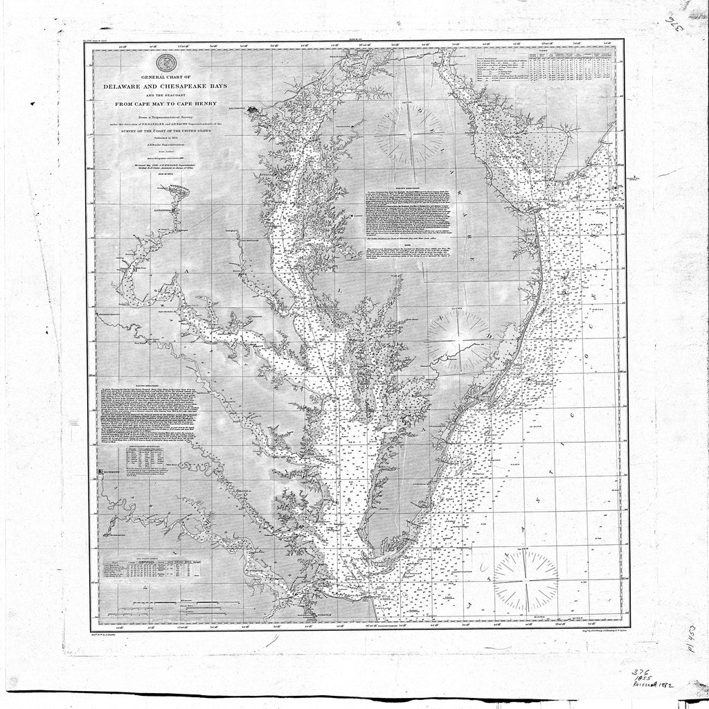 18 x 24 inch 1882 US old nautical map drawing chart of Delaware and Chesapeake Bays and the Seacoast From Cape May to Cape Henry From  NOAA x1940