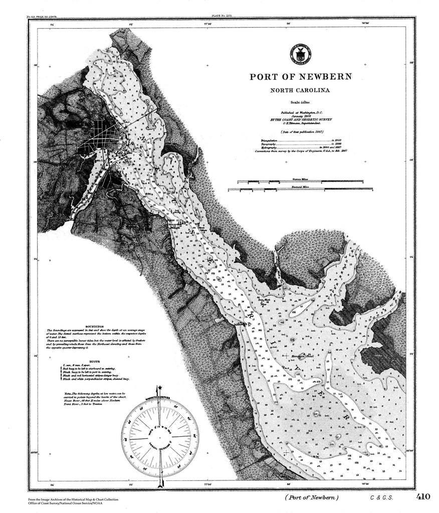 18 x 24 inch 1863 US old nautical map drawing chart of Nautical Chart of Port of Newbern From  C&GS x5931