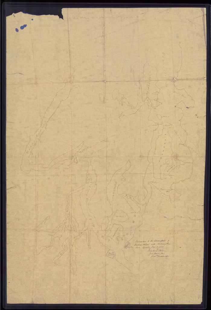 18 x 24 inch 1856 Washington old nautical map drawing chart of Copy from Wilkins Chart of a portion of Puget Sound From  NOAA x8500