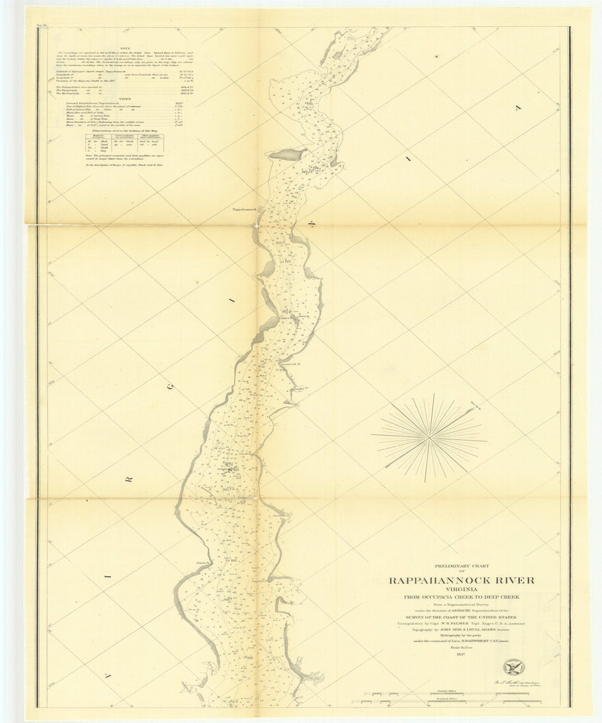18 x 24 inch 1857 Virginia old nautical map drawing chart of Preliminary Chart of Rappahannock River, Virginia from Occupacia Creek to Deep Creek From  U.S. Coast Survey x8678