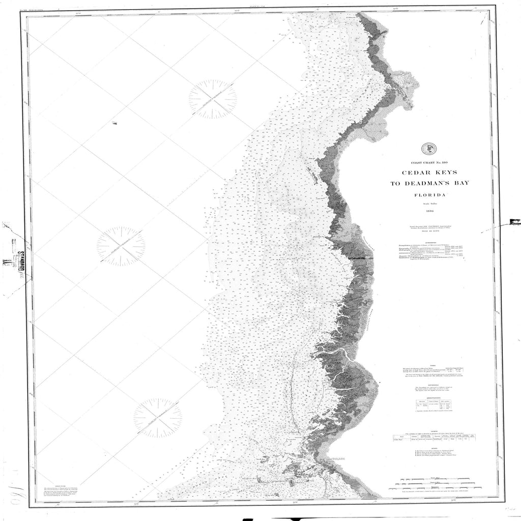 18 x 24 inch 1886 US old nautical map drawing chart of Cedar Keys to Deadman's Bay From  NOAA x2132