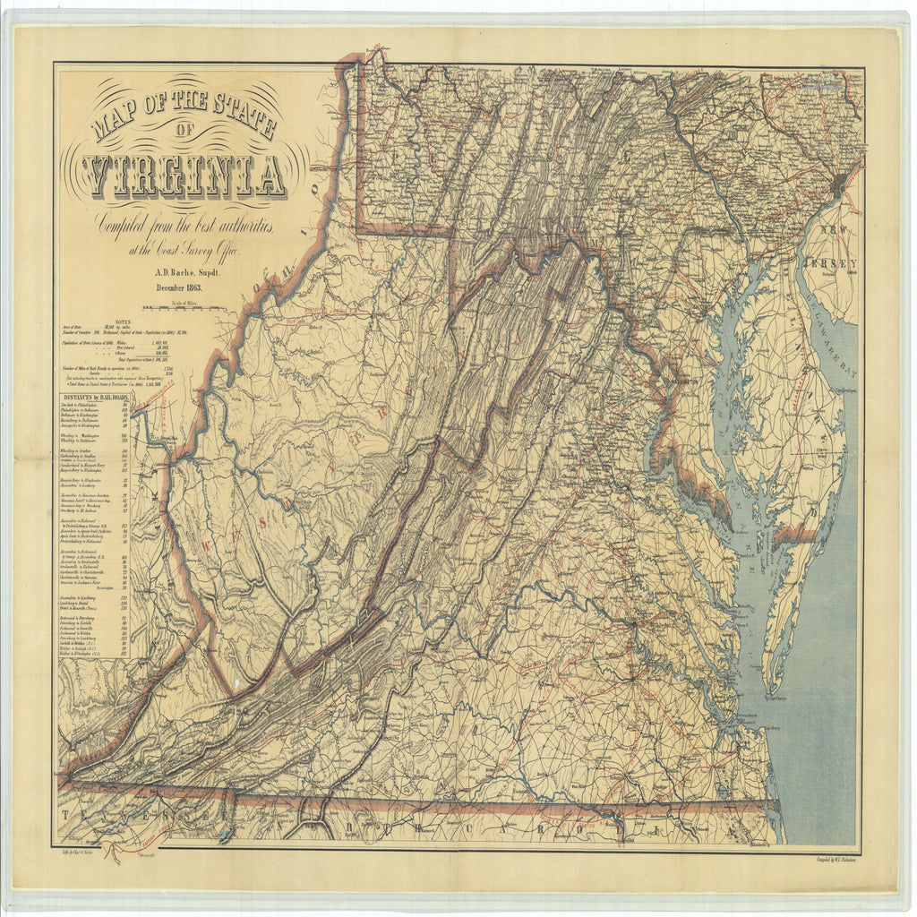 18 x 24 inch 1863 US old nautical map drawing chart of Map of the State of Virginia From  U.S. Coast Survey x1948