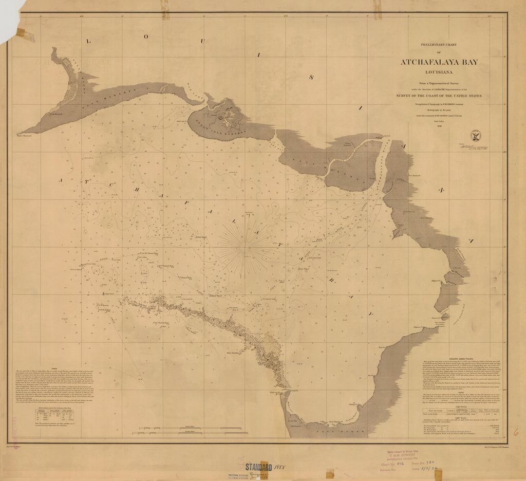 18 x 24 inch 1858 US old nautical map drawing chart of PRELIMINARY CHART OF ATCHAFALAYA BAY From  U.S. Coast Survey x3016