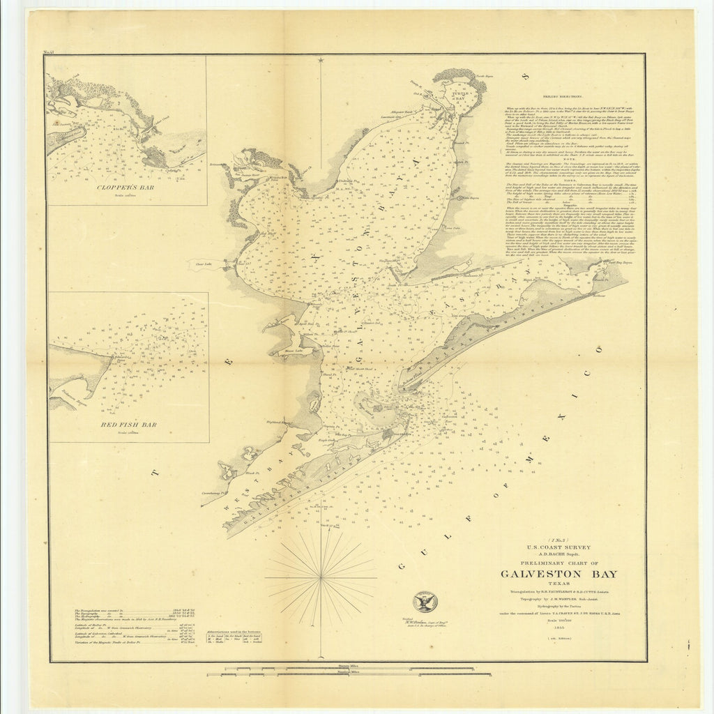 18 x 24 inch 1855 Texas old nautical map drawing chart of Preliminary Chart of Galveston Bay, Texas with Clopper's Bar and Red Fish Bar From  U.S. Coast Survey x11690