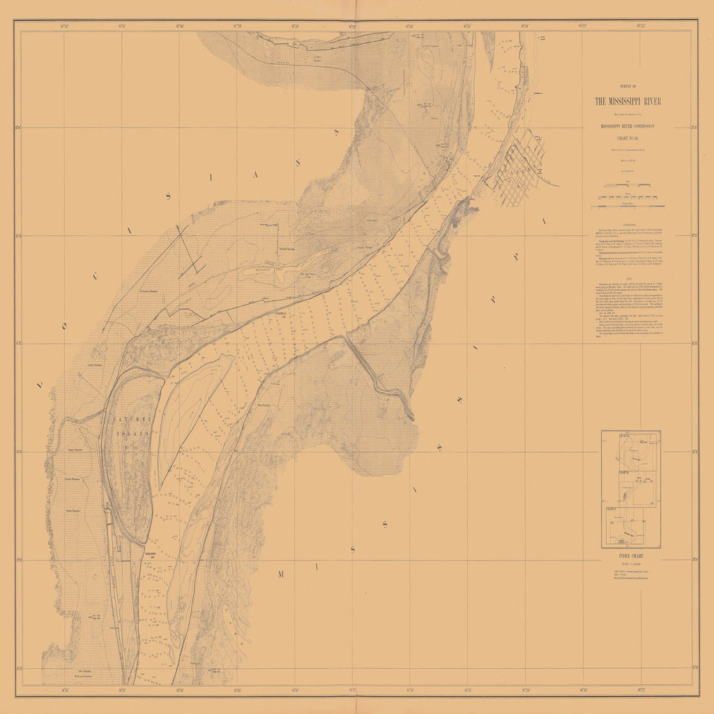 18 x 24 inch 1880 US old nautical map drawing chart of SURVEY OF THE MISSISSIPPI RIVER From  Mississippi River Commission x2381