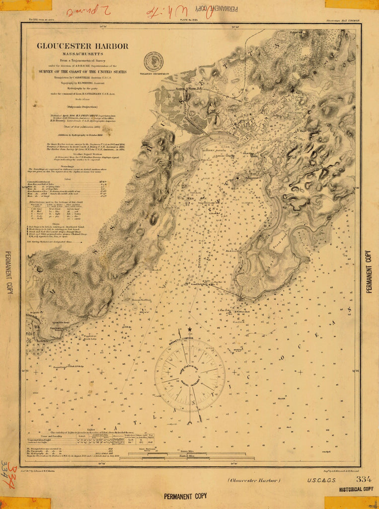 18 x 24 inch 1855 US old nautical map drawing chart of GLOUCESTER HARBOR From  US Coast & Geodetic Survey x2714