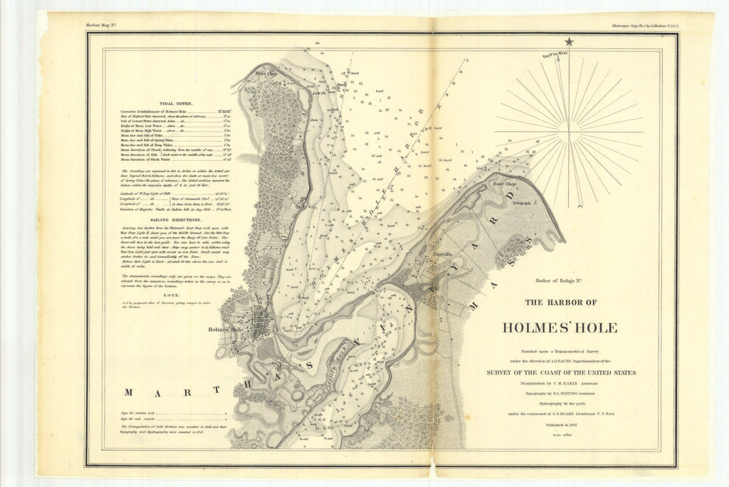 18 x 24 inch 1847 US old nautical map drawing chart of The Harbor of Holmes' Hole From  U.S. Coast Survey x2698