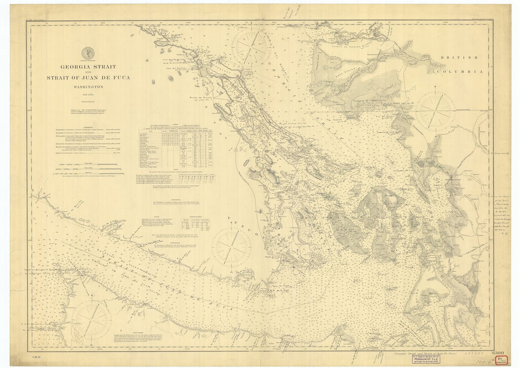 18 x 24 inch 1898 US old nautical map drawing chart of Georgia Strait and Strait of Juan De Fuca Washington From  US Coast & Geodetic Survey x636