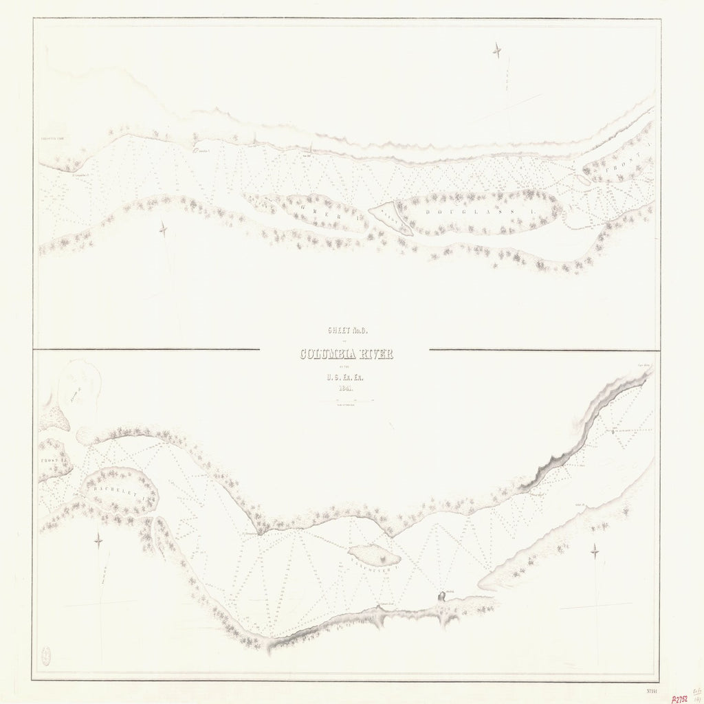 18 x 24 inch 1841 Oregon old nautical map drawing chart of SHEET NO 6 COLUMBIA RIVER From  US Ex. Ex. x6491