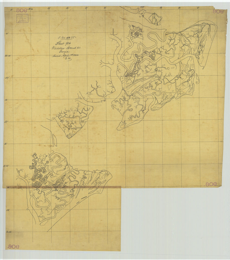 18 x 24 inch 1864 US old nautical map drawing chart of Wassaw Sound, Georgia From  U.S. Coast Survey x1494