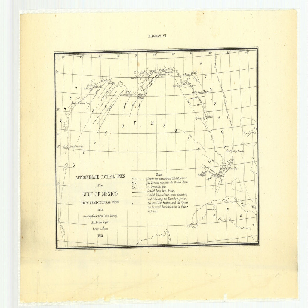 18 x 24 inch 1856 Texas old nautical map drawing chart of Approximate Cotidal Lines of the Gulf of Mexico from Semi-Diurnal Wave from Investigations in the Coast Survey, Diagram 6 From  U.S. Coast Survey x11944