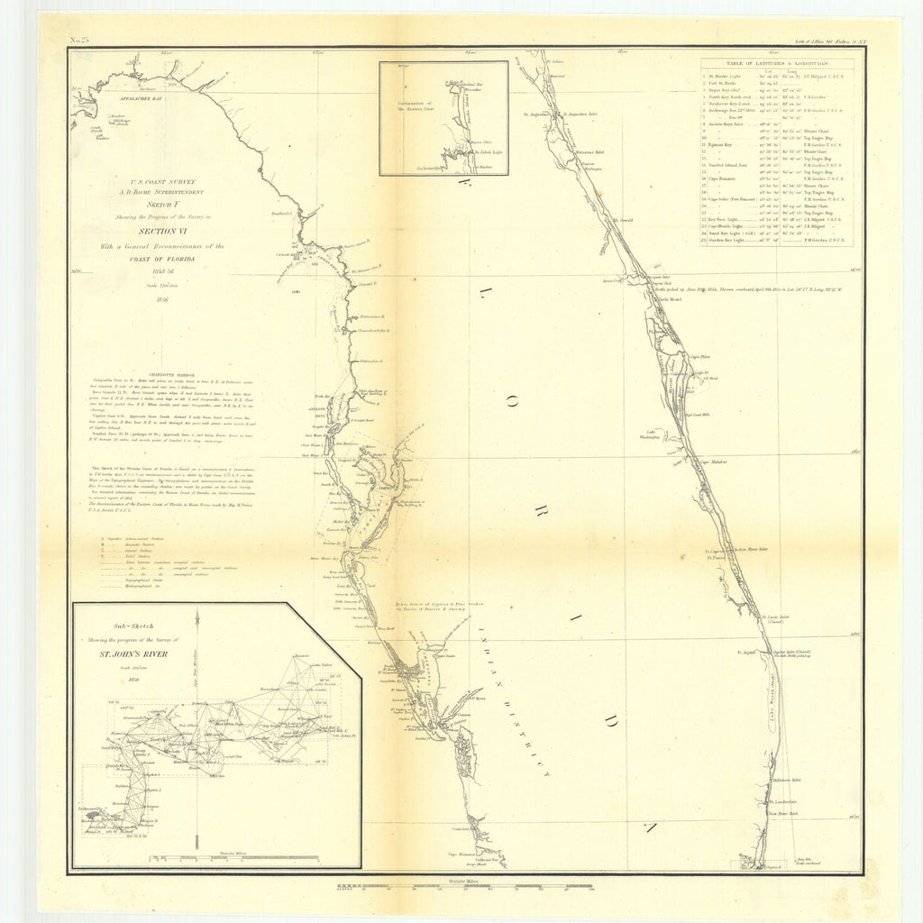 18 x 24 inch 1856 US old nautical map drawing chart of Sketch F Showing the Progress of the Survey in Section 6 with a General Reconnaissance of the Coast of Florida, 1848 to 1856.. From  U.S. Coast Survey x3237