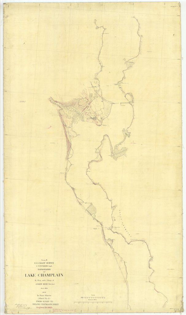 18 x 24 inch 1874 New York old nautical map drawing chart of Topography of Lake Champlain From Kirby to Below Chipman's Point Sheet No. 2 From  U.S. Coast Survey x6849