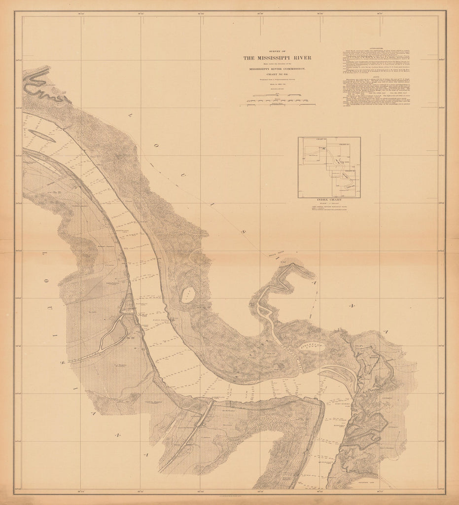 18 x 24 inch 1881 US old nautical map drawing chart of SURVEY OF THE MISSISSIPPI RIVER From  Mississippi River Commission x2396
