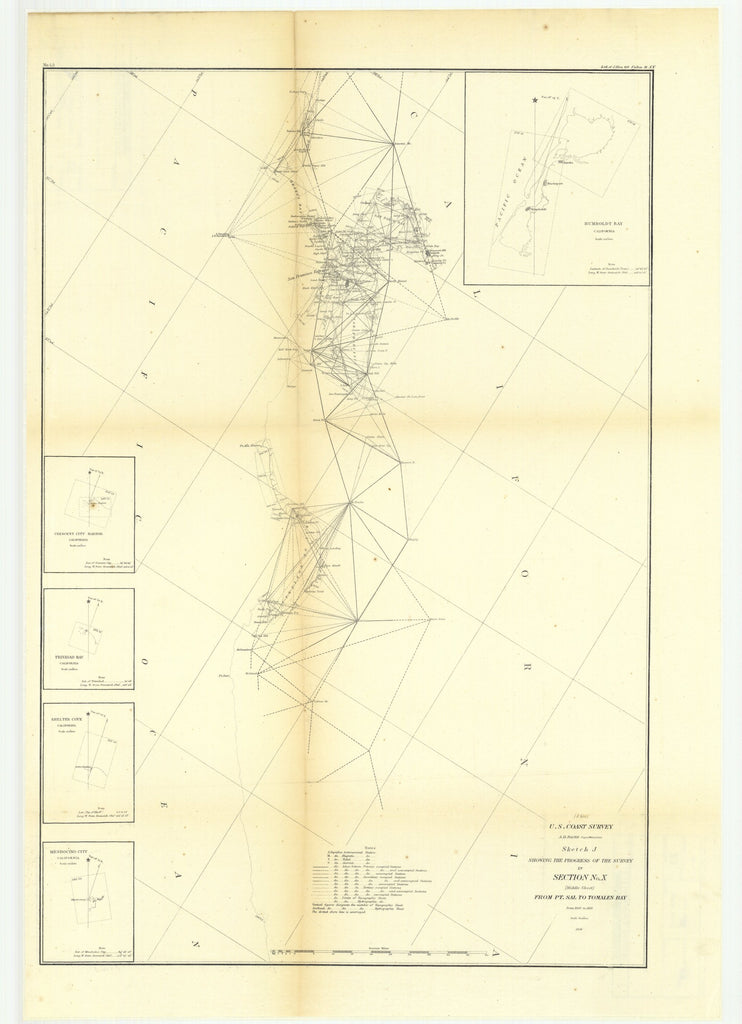 18 x 24 inch 1856 California old nautical map drawing chart of Sketch J Showing the Progress of the Survey in Section Number 10, Middle Sheet from Point Sal to Tomales Bay from 1850 to 1856.. From  U.S. Coast Survey x9686