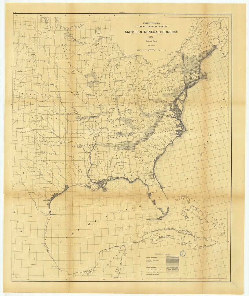 18 x 24 inch 1878 US old nautical map drawing chart of Sketch of General Progress, Eastern Sheet From  US Coast & Geodetic Survey x96