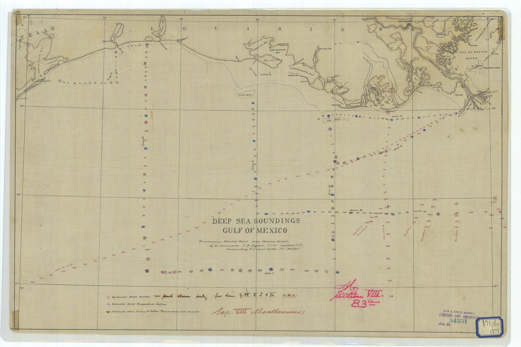 18 x 24 inch 1877 US old nautical map drawing chart of Deep Sea Soundings Gulf of Mexico From  U.S. Coast Survey x1500