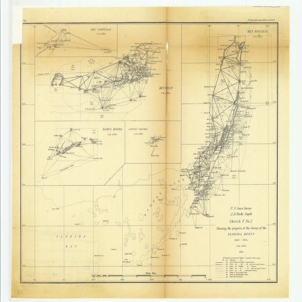 18 x 24 inch 1854 US old nautical map drawing chart of Sketch F Number 2 Showing the Progress of the Surveys of the Florida Reefs with Key Biscayne, Key West, Bahia Honda, Coffin's Patches and Dry Tortugas From  U.S. Coast Survey x2586