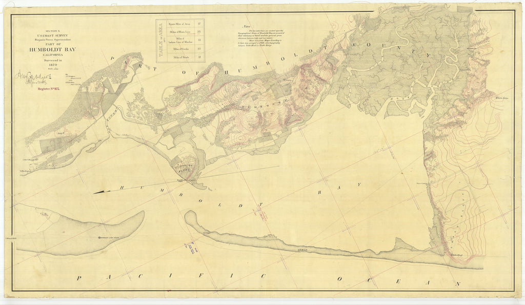 18 x 24 inch 1870 US old nautical map drawing chart of Part of Humboldt Bay From  U.S. Coast Survey x1715