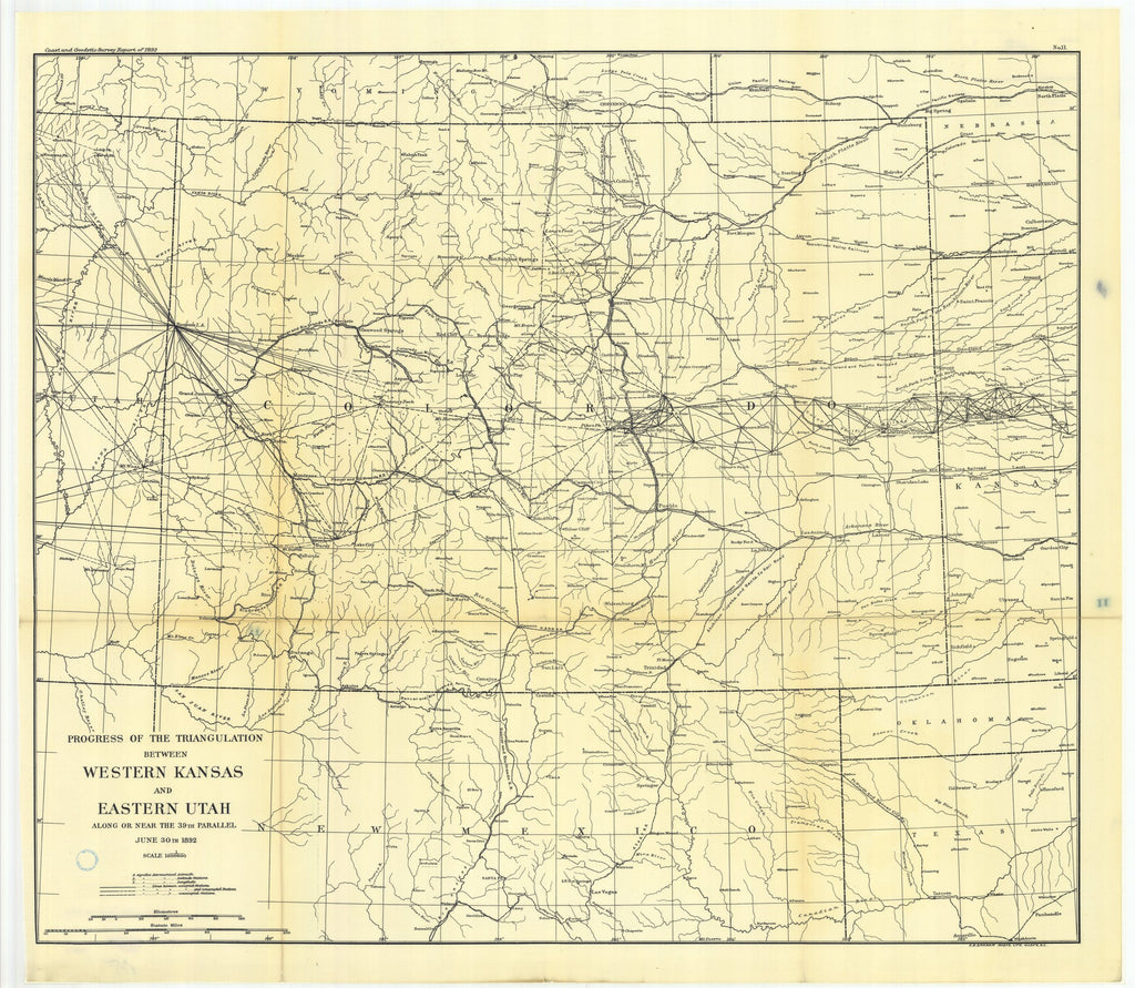 18 x 24 inch 1892 US old nautical map drawing chart of No. 11. Triangulation between western Kansas and eastern Utah along or near the thirty-ninth parallel. From  US Coast & Geodetic Survey x2654