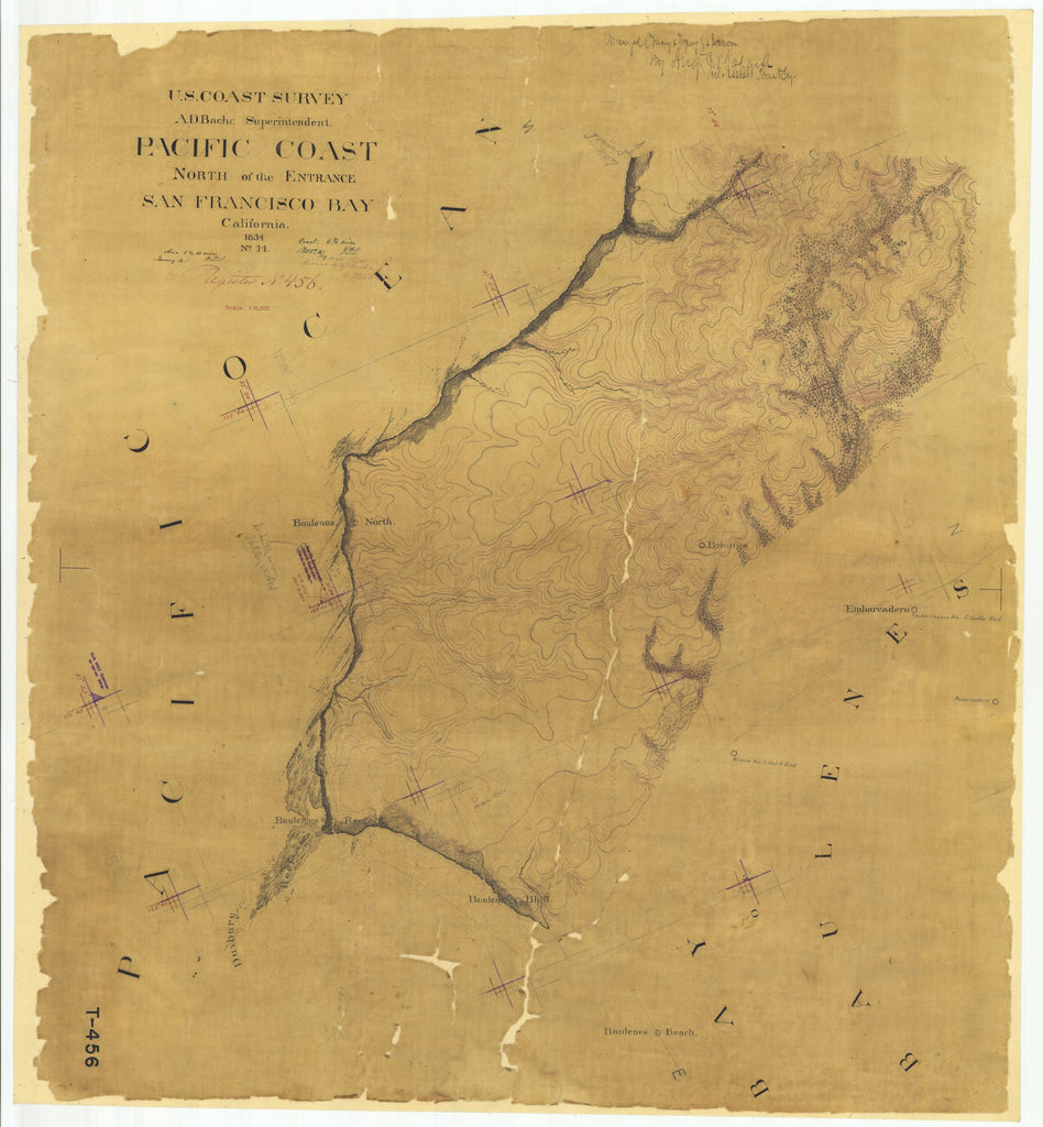 18 x 24 inch 1854 US old nautical map drawing chart of Pacific Coast North of the Entrance San Francisco Bay, California From  U.S. Coast Survey x1653
