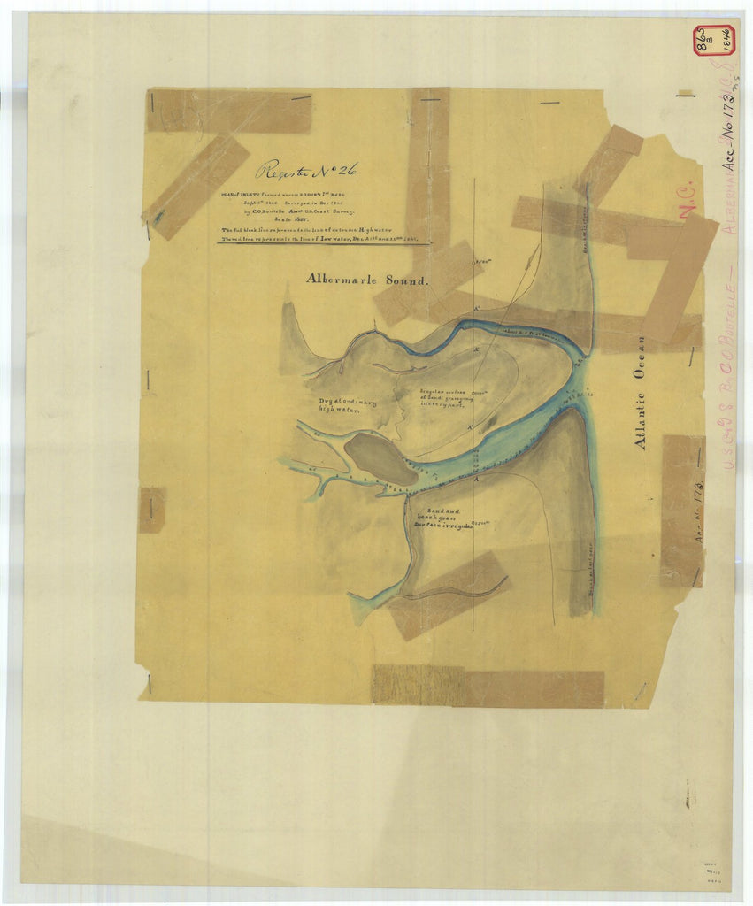 18 x 24 inch 1846 US old nautical map drawing chart of Plan of Inlets Formed Across Bodie's Isd Base From  U.S. Coast Survey x5011
