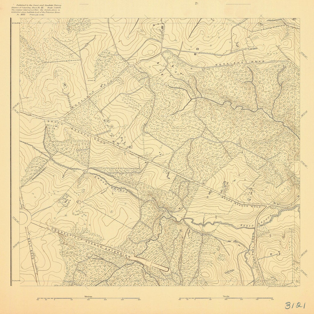 18 x 24 inch 1892 US old nautical map drawing chart of CONNECTICUT AVENUE EXTENSION From  US Coast & Geodetic Survey x1124