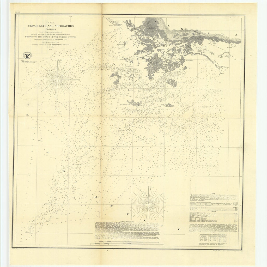 18 x 24 inch 1854 US old nautical map drawing chart of Preliminary Survey of Turtle Harbor, Florida Reefs From  U.S. Coast Survey x1366