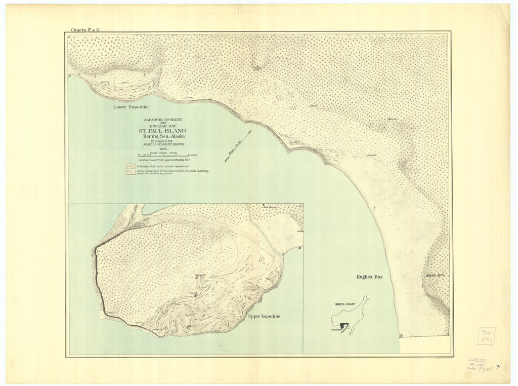 18 x 24 inch 1891 US old nautical map drawing chart of Saint Paul Island : Zapadnie Rookery and English Bay From  US Coast & Geodetic Survey x216