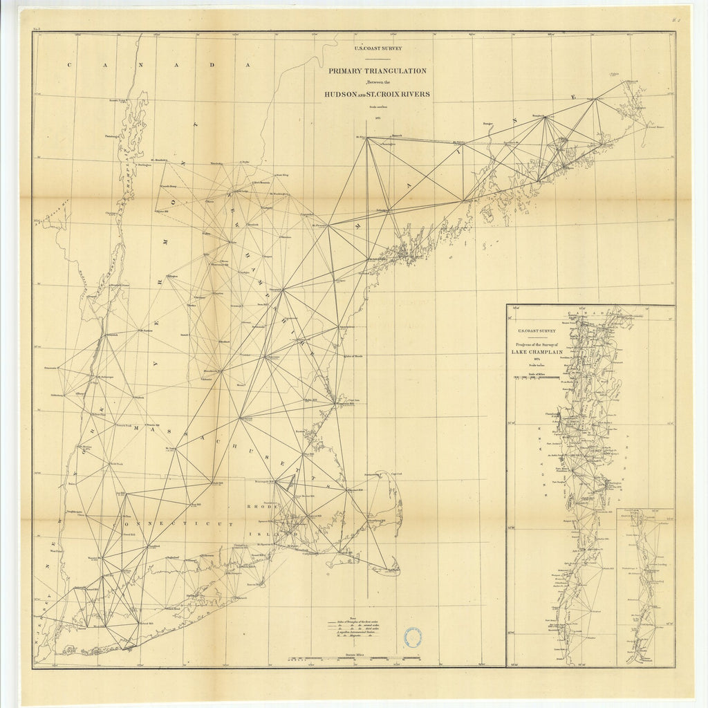 1875 Rhode Island Primary Triangulation Between The Hudson And St - Lake-champlain-on-us-map