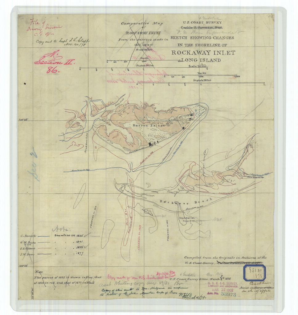 18 x 24 inch 1878 New York old nautical map drawing chart of Sketch Showing Changes in the Shoreline of Rockaway Inlet Long Island From  U.S. Coast Survey x6913
