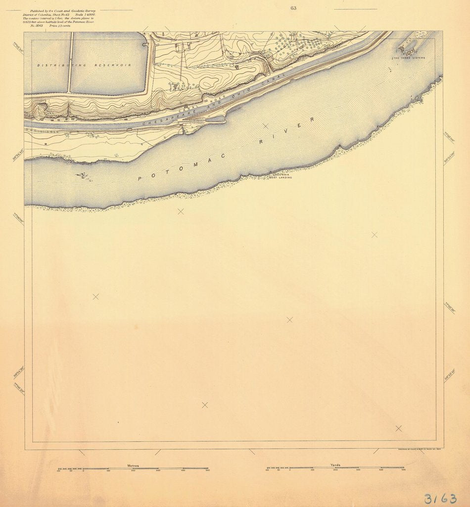 18 x 24 inch 1893 US old nautical map drawing chart of POTOMAC RIVER From  US Coast & Geodetic Survey x686