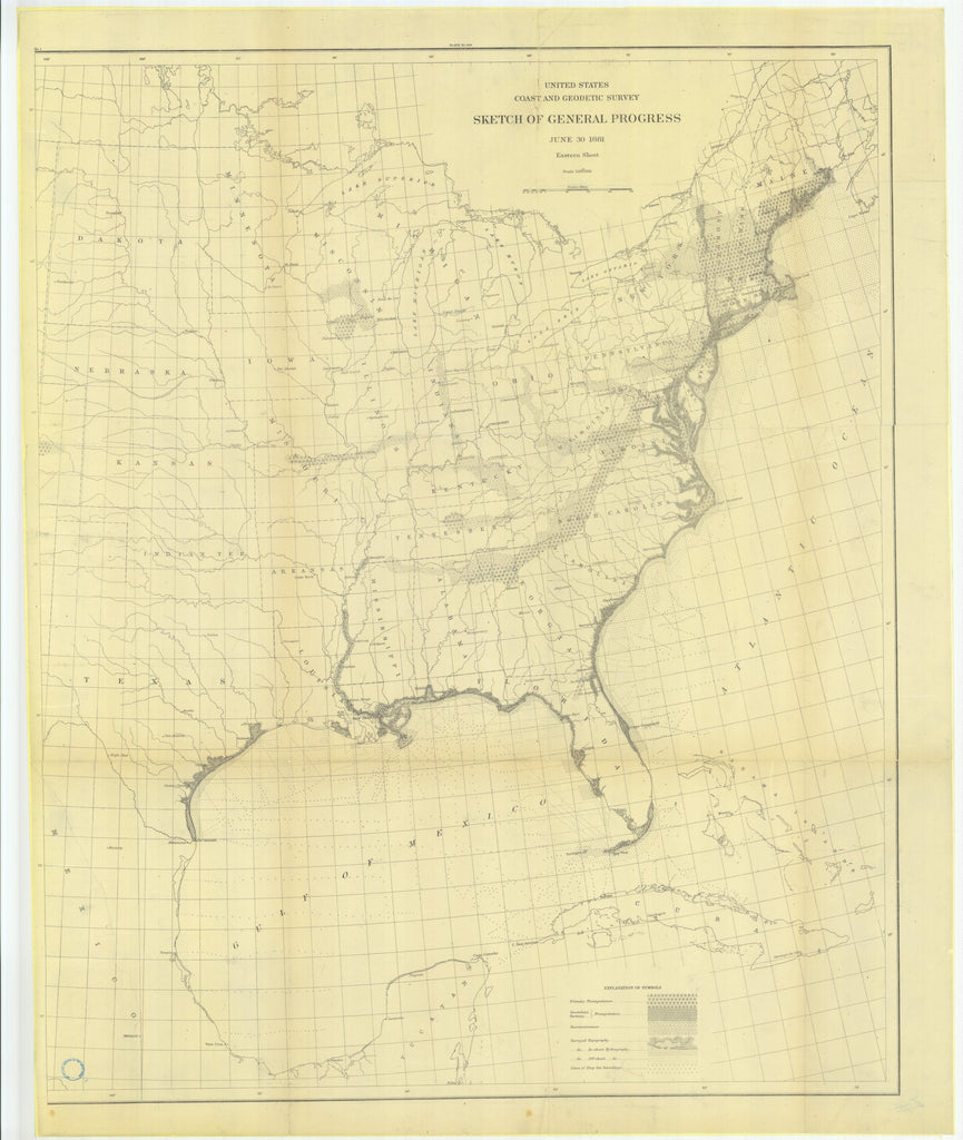18 x 24 inch 1881 USA old nautical map drawing chart of Sketch of General Progress, June 30, 1881 Eastern Sheet From  US Coast & Geodetic Survey x12033