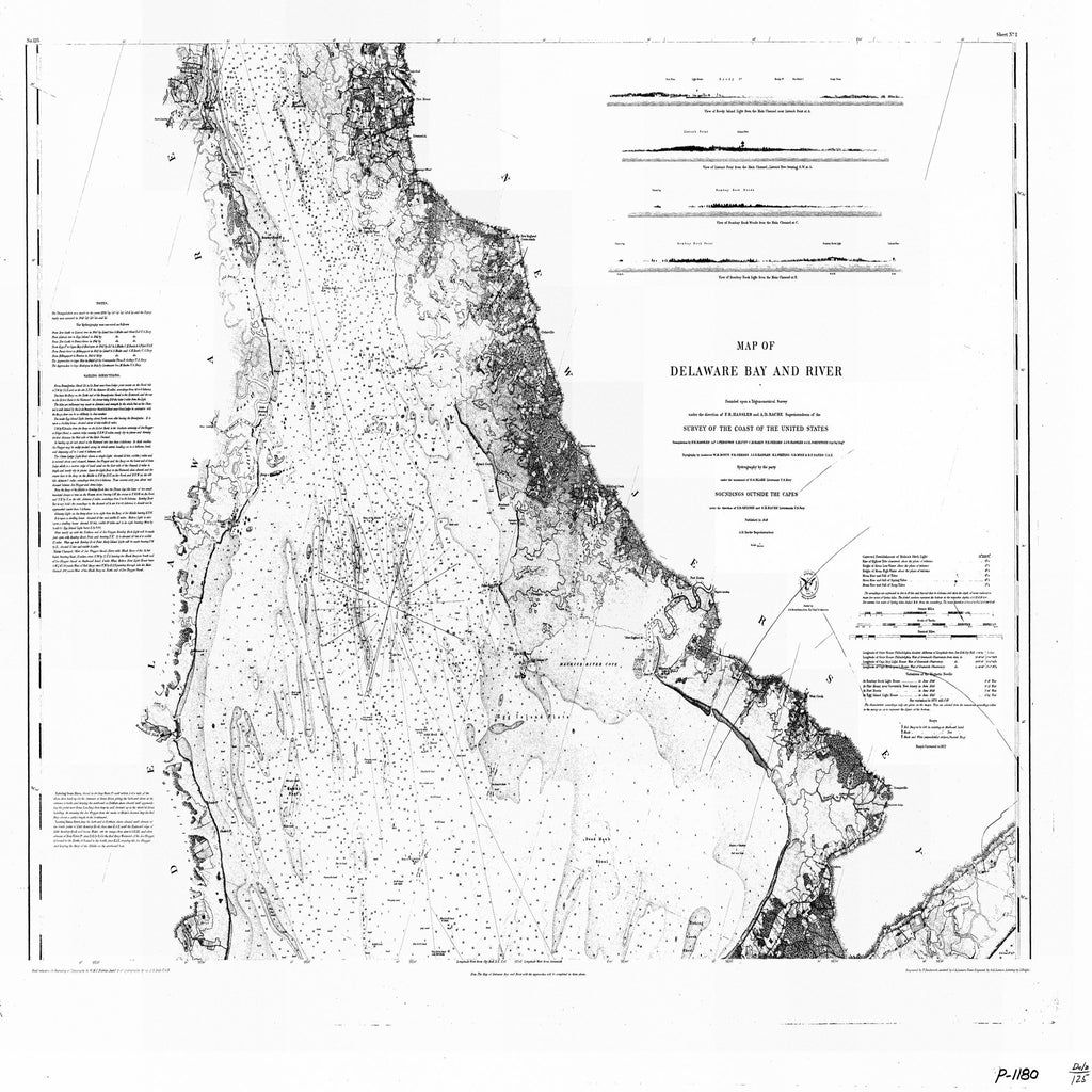 18 x 24 inch 1848 US old nautical map drawing chart of MAP OF DELAWARE BAY AND RIVER From  U.S. Coast Survey x6122