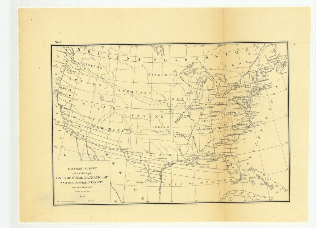 18 x 24 inch 1855 West Virginia old nautical map drawing chart of Lines of Equal Magnetic Declination on the Coast of the United States for the year 1850. From  US Coast & Geodetic Survey x11143