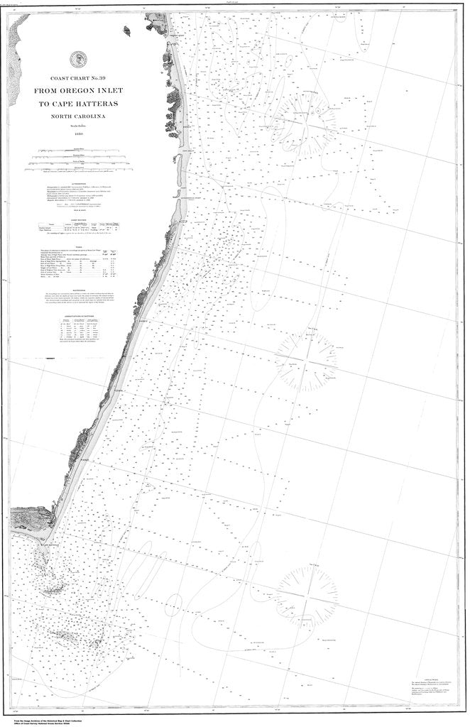 18 x 24 inch 1880 North Carolina old nautical map drawing chart of Oregon Inlet to Cape Hatteras From  US Coast & Geodetic Survey x6573