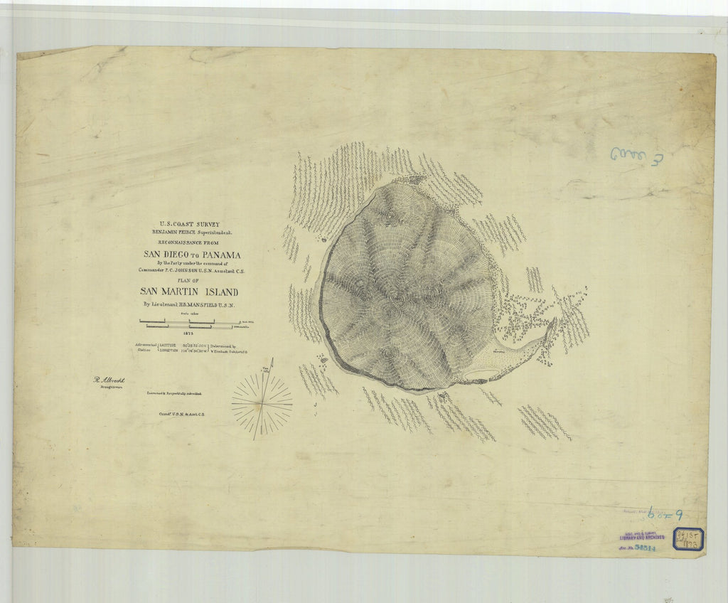18 x 24 inch 1873 US old nautical map drawing chart of San Diego to Panama Plan of San Martin Island From  U.S. Coast Survey x2076